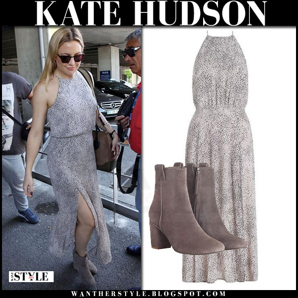 Kate Hudson in grey dot print zimmermann master picnic maxi dress and suede zimmermann weekend ankle boots what she wore