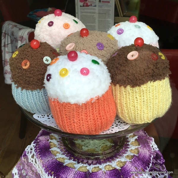 knitted cupcakes at Cloth Carousel yarn shop in Winters, California