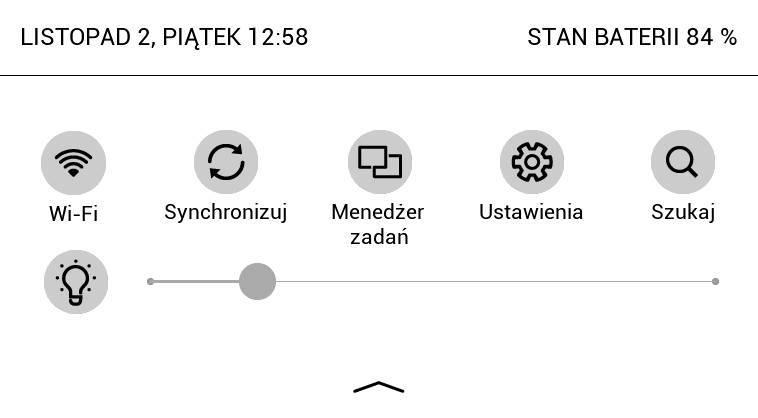 Góne rozwijane menu w PocketBook Touch Lux 4