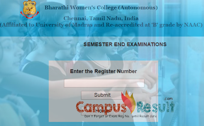 BHARATHI WOMENS COLLEGE RESULTS, bwc exam result, bwc.edu.in, bwc chennai college