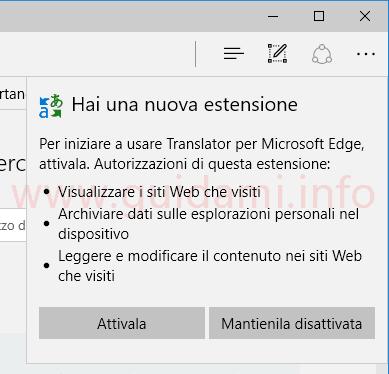 Autorizzazioni attivazione estensione Microsoft Edge