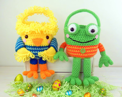 Crochet chicken and frog Easter basket