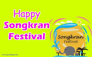 Happy Songkran Water Festival elephant