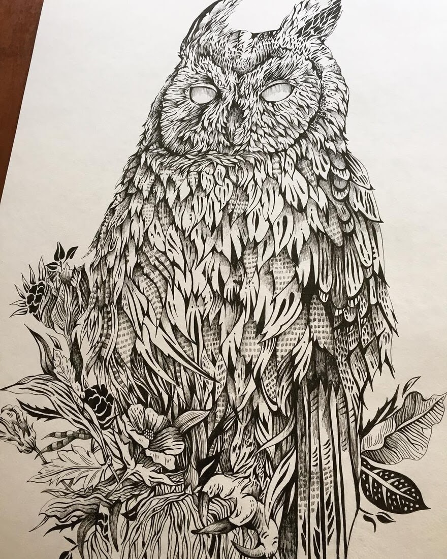 06-All-Seeing-Owl-Kate-Burgau-Ink-Illustrations-of-Nature-and-Animals-www-designstack-co