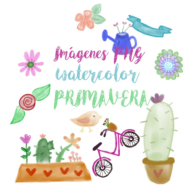 descargar, gratis,imprimibles, png, watercolor, primavera