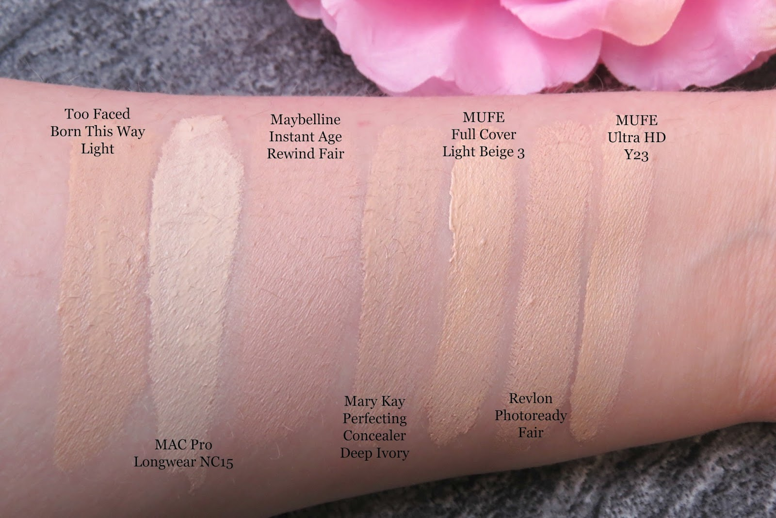 too faced concealer before and after. too faced born this way naturally radiant concealer light swatch review comparison before and after e