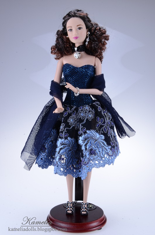 Navy blue evening dress for Barbie dolls.