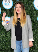 Drew Barrymore in Blue Jeans and a Boxy Grey Blazer at Safe Kids Day in Los Angeles
