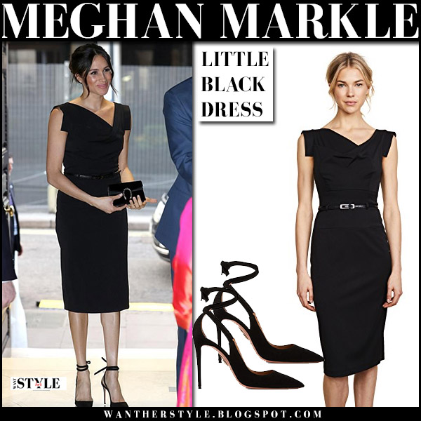Meghan Markle in black sleeveless belted dress black halo jackie o and black pumps aquazzura milano royal family style april 19