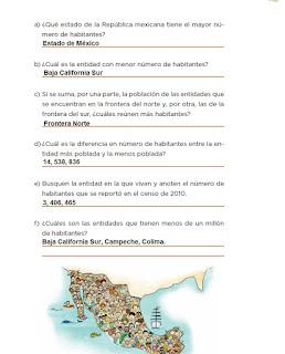 Respuestas Apoyo Primaria Desafíos Matemáticos 4to. Grado Bloque III Lección 63 Los habitantes de México