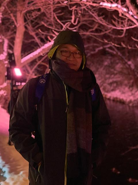 弘前城公園賞夜櫻(雪)