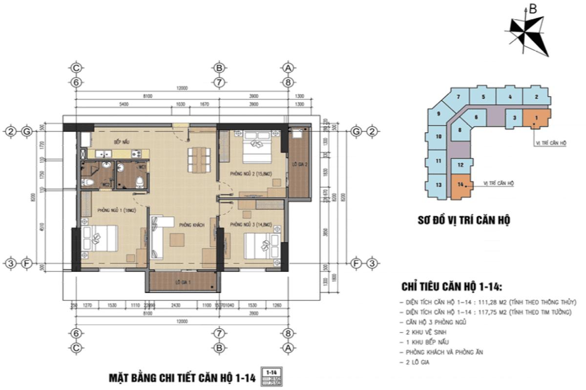 Mặt bằng căn 01-14 dự án B32 Đại Mỗ