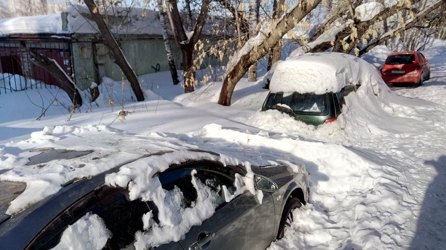 Две машины под снегом