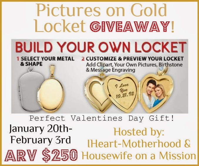 Enter to win the Pictures on Gold Locket Giveaway. Ends 2/3.