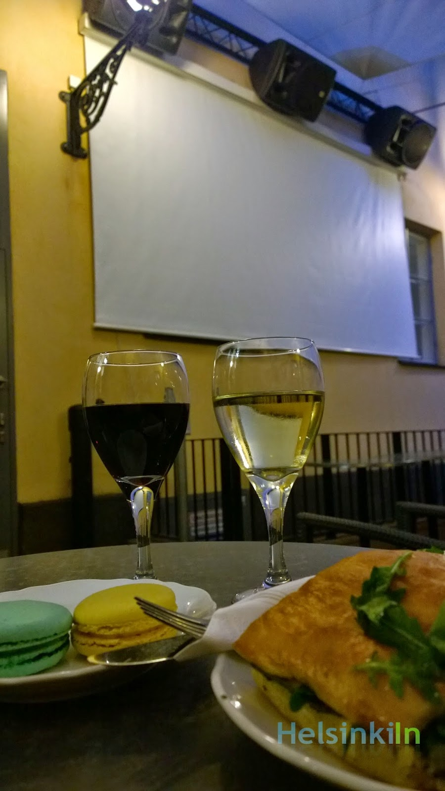 wine and snacks at Kesäkino Engel