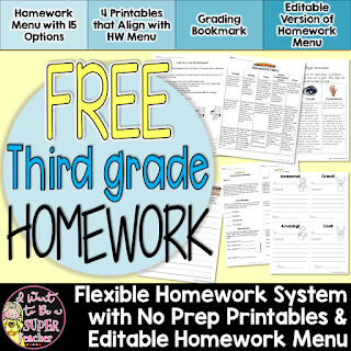 A FREE homework menu with 4 corresponding printables to get you started using homework menus in the classroom.