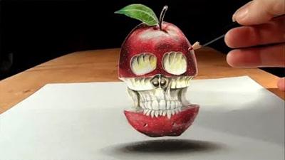 Trick Art, Drawing Levitating 3D Apple Skull