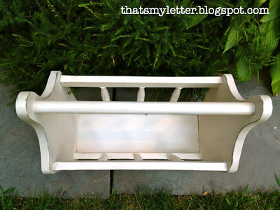 magazine rack distressed off white paint