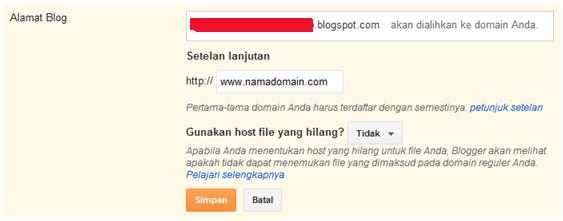 Cara setting blogspot ke domain sendiri