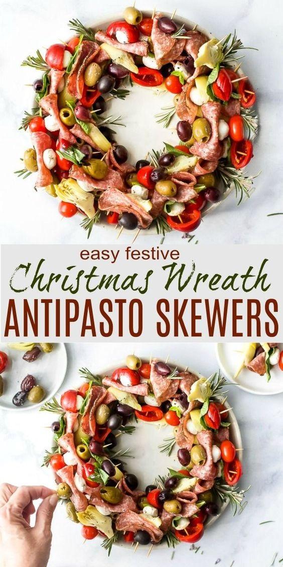 Christmas Wreath Antipasto Skewers