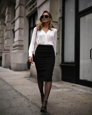 outfit formal para el trabajo blanco y negro