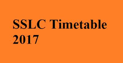 SSLC Timetable 2017