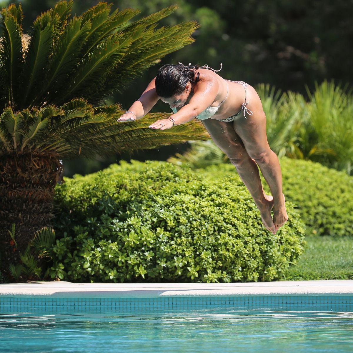 Rebekah Vardy in Bikini at a Pool in Portugal