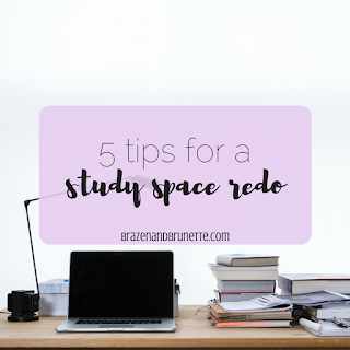 5 tips for a study space redo: pick a color scheme, add storage and organization, fill it with supplies, give yourself some motivation and inspiration, and slowly work on it | brazenandbrunette.com