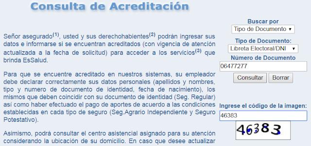 Consulta de Acreditacion EsSalud