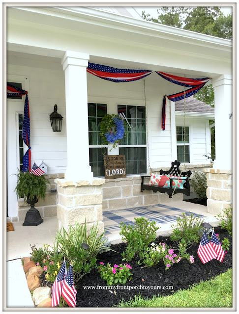 Farmhouse-Fourth of July-Patriotic-Bunting-Porch Swing-Grandin Road- Front Porch-From My Front Porch To Yours