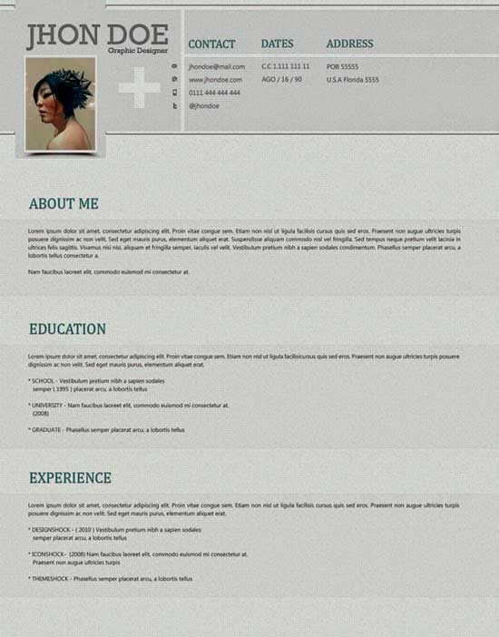 Free Creative Resume Template 06
