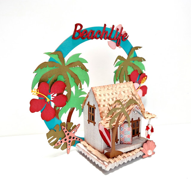 Summer Loving Beach Life Beach House Right Side by Dana Tatar for FabScraps