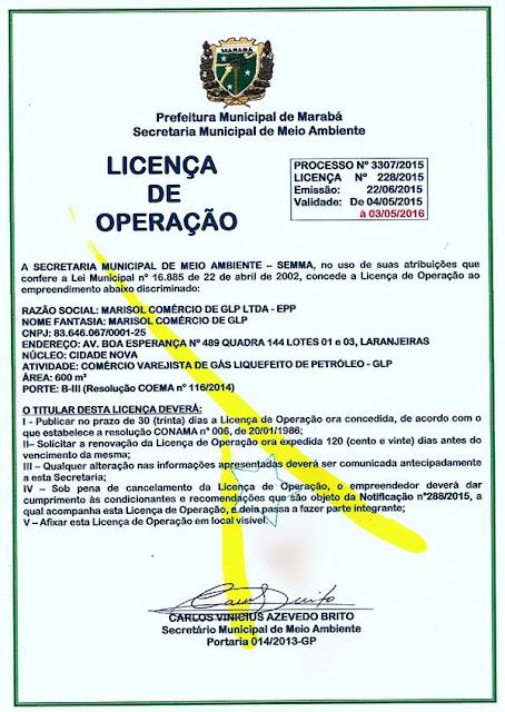 LICENÇA DE OPERAÇÃO - MARISOL COMÉRCIO DE GLP LTDA - EPP