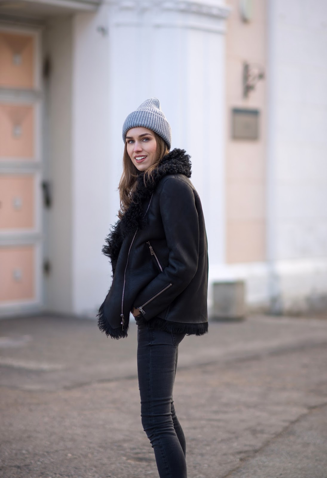 black shearling jacket grey beanie