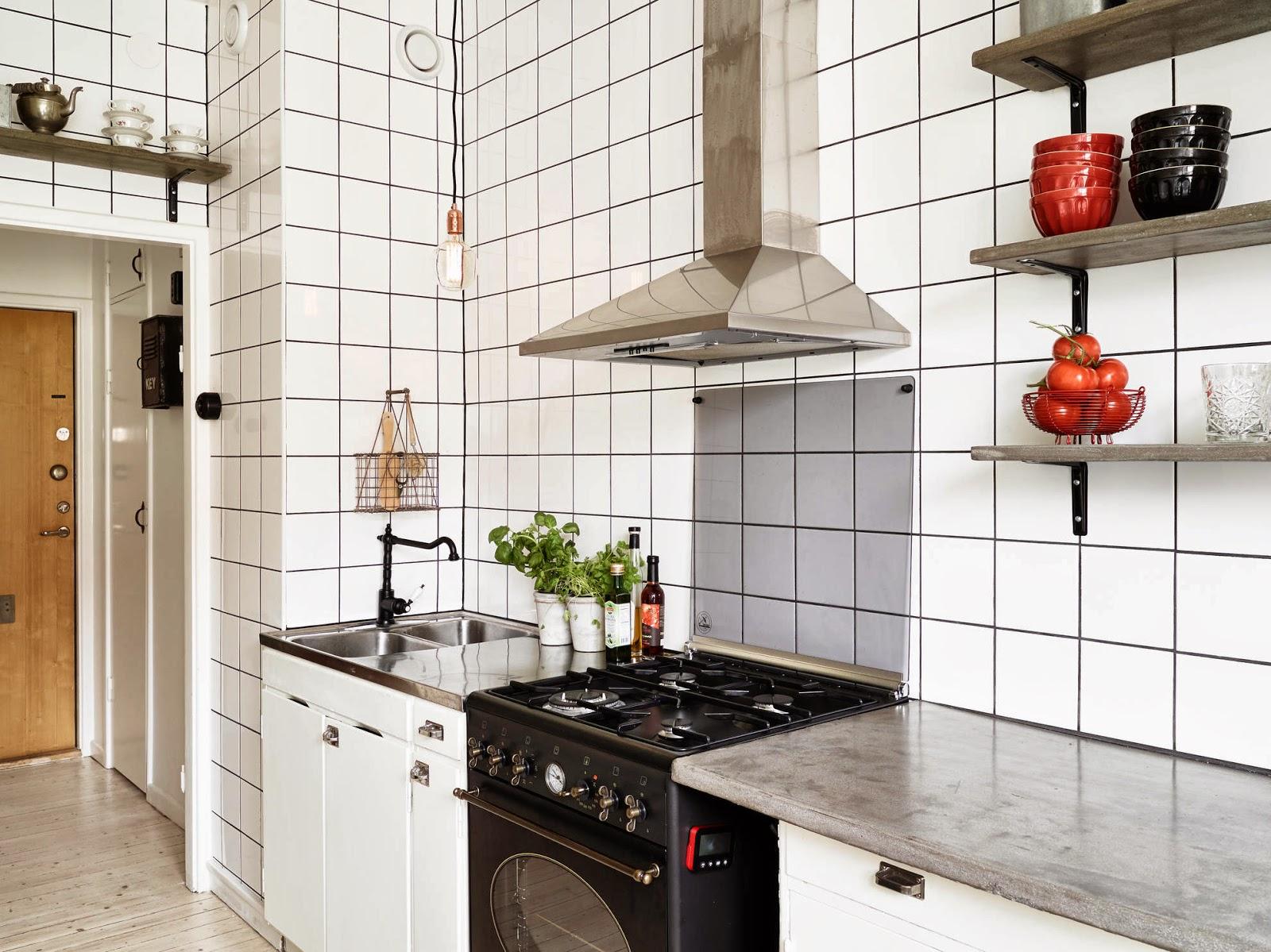 Cozinha simples com azulejo branco Decoração e Ideias casa e  #AB3120 1600 1199