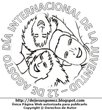 Dibujo de jóvenes por el Día Internacional de la Juventud para colorear pintar e imprimir. Dibujo del Día Internacional de la Juventud de Jesus Gómez