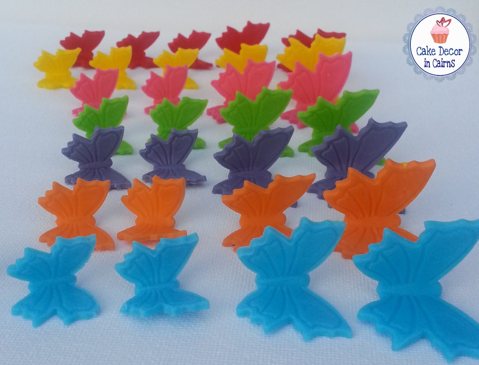 Rainbow Fondant Gumpaste Butterfly Cupcake Cake toppers  Red Yellow Pink Green Purple Orange Blue