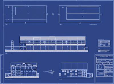 As seções do projeto mostram a estrutura pré-moldada de concreto armado nas empenas laterais, com a cobertura do grande vão de 26 metros através de treliças metálicas.
