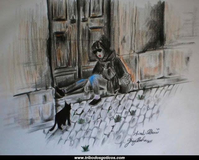 gotica,gato,preto,solitaria