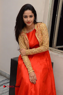 Telugu Actress Divya Nandini Stills in Orange Sleeveless Gown at Chennai Chaitrama Movie le Launch Event  0100.JPG