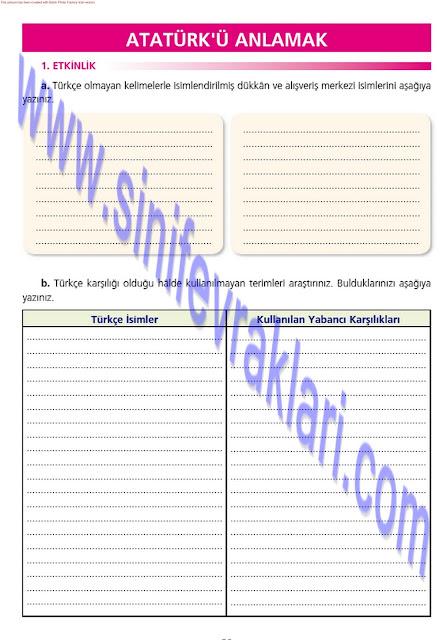 7. Sınıf Ezde Yayınları Türkçe Çalışma Kitabı Cevapları Sayfa 36