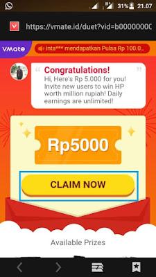 Vmate Cara Mendapatkan Hadiah Pulsa Gratis Terbaru Dari Aplikasi