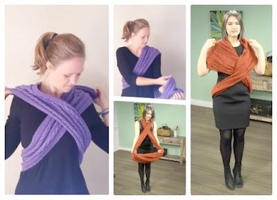 Chaleco cruzado a crochet con una bufanda infinita