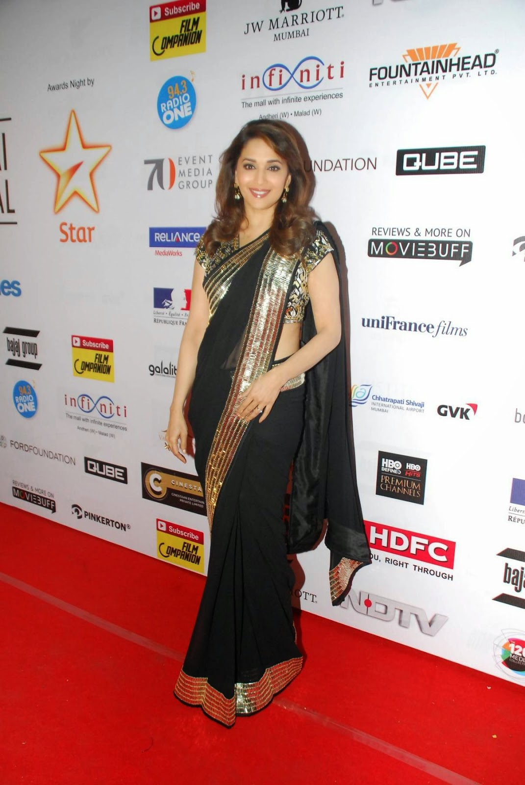 Glamorous Madhuri Dixit Photos In Black Saree At Film Festival