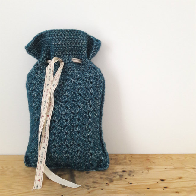 Crochet hot water bottle cover, design by Happy in Red