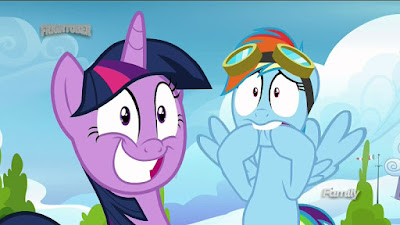 Twilight and Rainbow Dash trying unsuccessfully not to look worried
