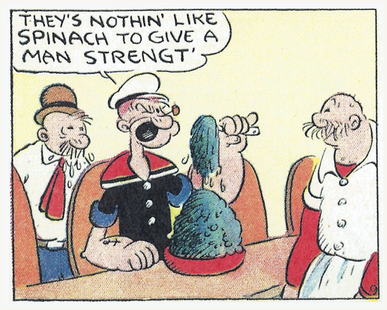 Popeye, first bowl of spinach, 1932