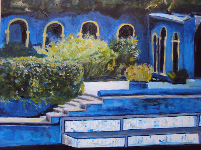 Inspired by the Palacio Fronteira, Penny painted this exquisite scene of the gardens at Palacio Fronteira. Personally, I can't over the vibrant blue of the palace or the masterpiece of art—stunning!