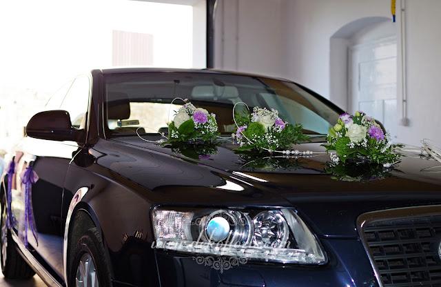 Dekoracja ślubna samochodu fioletowa -opolskie