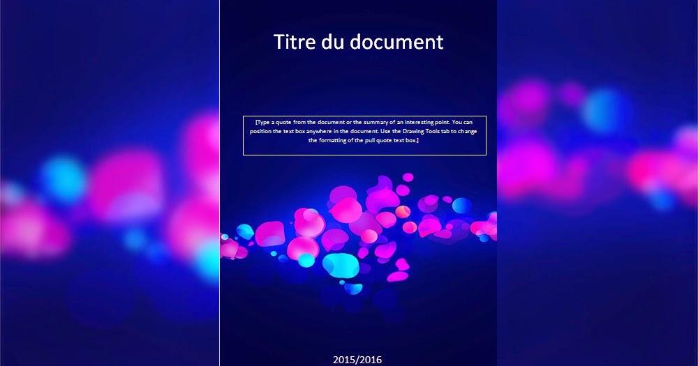 Modele Page De Garde Pour Un Rapport De Stage